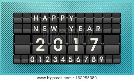 Happy New Year social media banner. Vector airport board. Realistic flip scoreboard airport template. Black airport board with alphabet and numbers. Analog board font. Destination airline timetable.