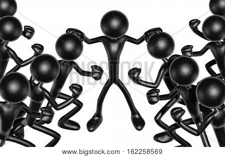 The Original 3D Character Illustration Holding Two Opposing Crowds Back