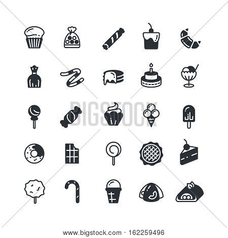Dessert, pie, cupcake, cookie, biscuit, muffin vector icons. Sweet cupcake and biscuit, set of cake in monochrome style illustration