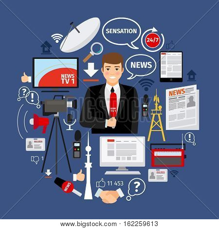 News concept with flat journalist and mass media icons arranged in curcle shape. Vector illustration