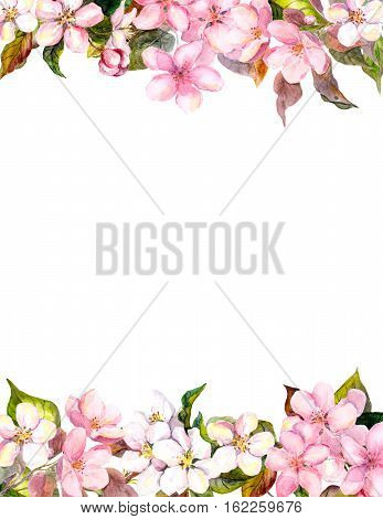 Pink flowers - apple and cherry blossom. Floral frame for postcard. Watercolor