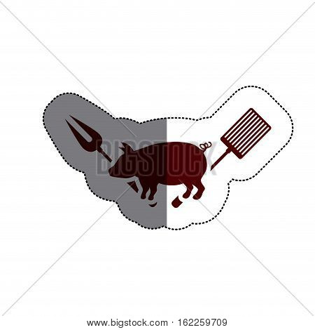 Grill and pork meat icon. Bbq menu steak house food and meal theme. Isolated design. Vector illustration