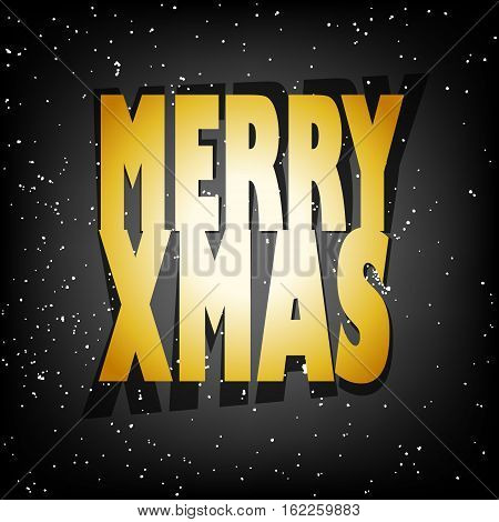 Greeting card with golden text Merry Xmas and snow on black background.