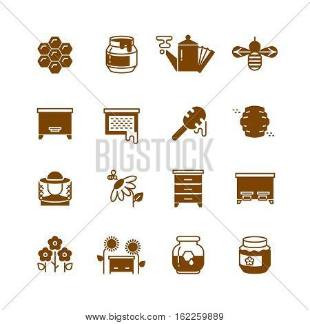 Bee hive, honey, bee honeycomb vector icons. Sweet honey and natural organic food illustration