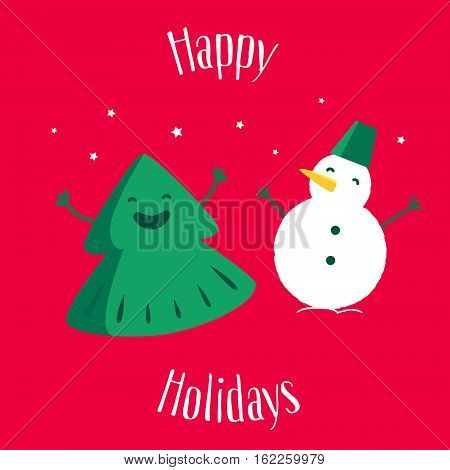 Fun Christmas tree with snowman on red background. Happy Holidays. Greeting card. Vector illustration.