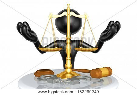 Law Legal Concept With The Original 3D Character Illustration