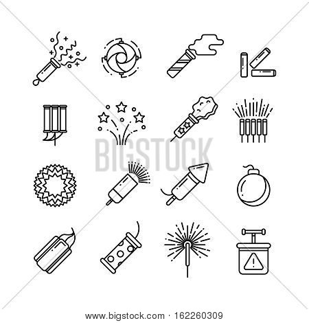 Festival dynamite, party fireworks, festive spark, holiday pyrotechnic line vector icons. Set of pyrotechnic icon line style, illustration of dynamite, rocket and detonator