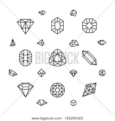 Geometric 3d crystal shapes, diamond, gems thin line vector icons. Linear crystal stone, illustration of jewelry stone