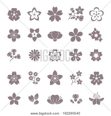 Simple flower, floral graphic vector icons set. Silhouette of flowers, illustration blossom flower