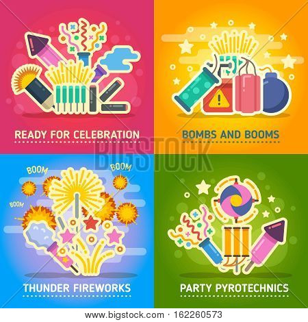Crackers, fire show, holiday party, pyrotechnics festival vector concepts. Festival with salute, set of banner party and firework illustration