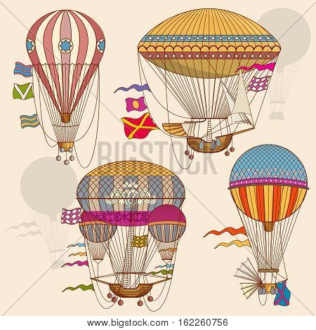 Vintage air balloon vector set. Striped air balloon with basket, flight transportation cartoon balloon illustration
