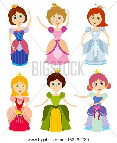 Little cute princesses show kids bride girl fashion vector. Young princess in dress, elegance person princess illustration