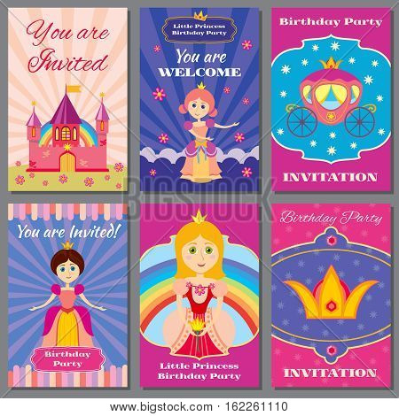 Child girl birthday, princess party vector invitations set. Template of card invitation, set of page birthday invitation illistration