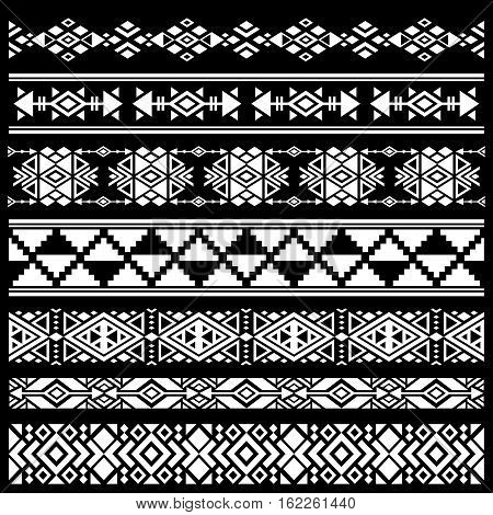 Mexican, american tribal art decor vector brushes, borders. Black white mexican decoration, ancient geometric mexican decoration illustration