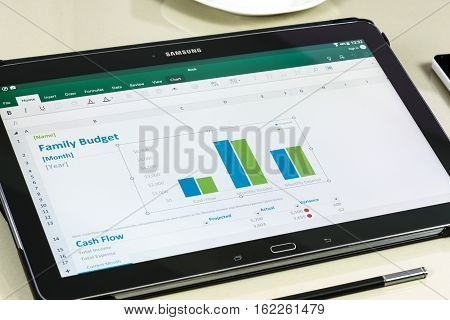 Krynica Poland - December 19 2016 - Microsoft Office Excel application on Samsung Galaxy Note Pro 12.2. Microsoft Excel is a spreadsheet developed by Microsoft Corporation for Windows macOS Android and iOS.