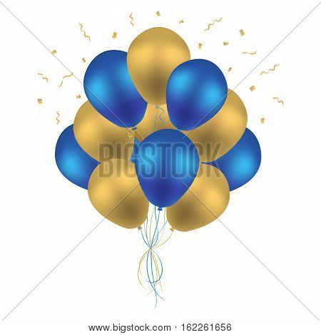 Bunch of Birthday Balloons Flying for Party and Celebrations Isolated in White Background. Vector Illustration - stock 3d Realistic Colorful Blue and Golden Balloon Vector With Space for Message.