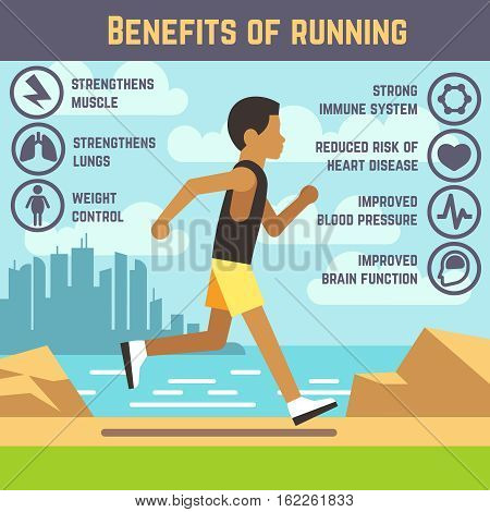 Jogging man, running guy, fitness exercise lifestyle cartoon vector concept. Benefit of running infographic, strengthen to brain illustration