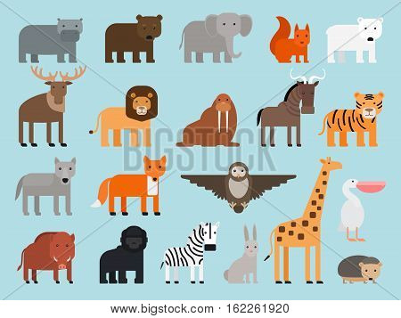 Zoo animals flat colorful icons on blue background. Vector illustration