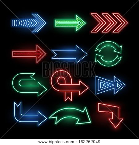 Retro neon direction arrow vector signs, icons. Neon arrow electric illuminated illustration