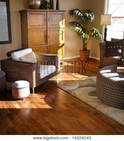 Modern stylish living room with hardwood flooring