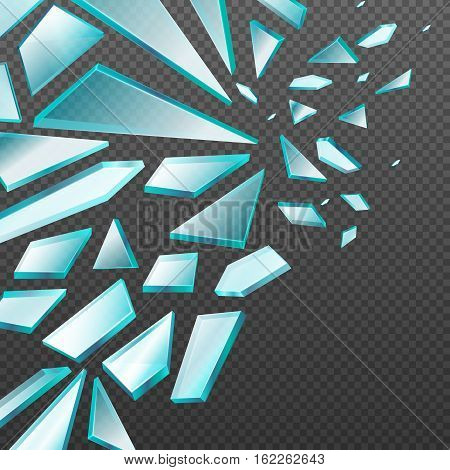 Window with transparent broken glass shards vector background. Glass broken sharp, illustration of parts glass