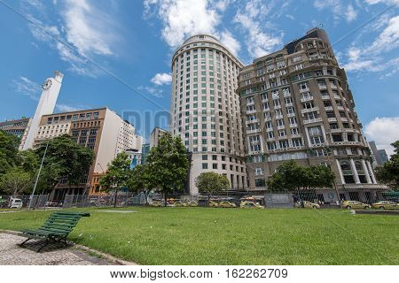 Rio de Janeiro Downtown Buildings View From the Mahatma Gandhi Square Under Blue Sky with Clouds