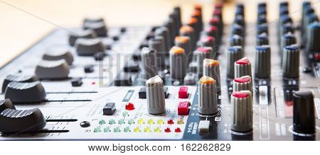 Sound music mixer control panel. Mixer sequencer. Background
