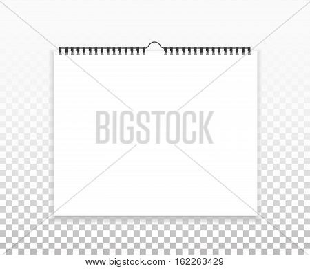 Realistic sheets of paper with spiral on a isolated transparent background. Blank calendar mock up. Design of white notebooks horizontal wall calendars cards. Stock vector.