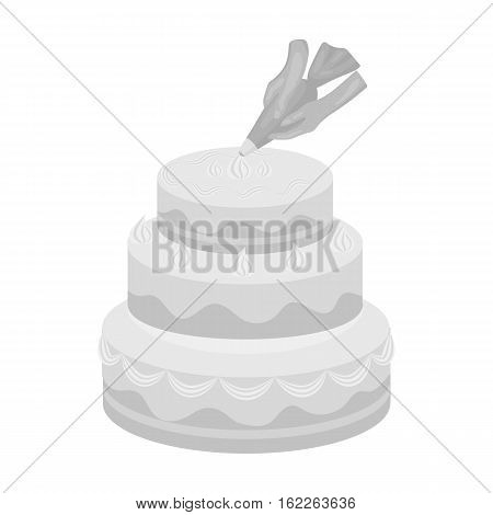 Decorating of birthday cake icon in monochrome style isolated on white background. Event service symbol vector illustration.