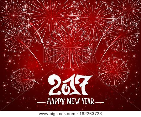 Lettering Happy New Year 2017 and sparkling fireworks on red shiny background, holiday greeting, illustration.