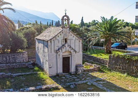 The old Church of St. George from the 13th century, is located by the coast in Tucepi Croatia.