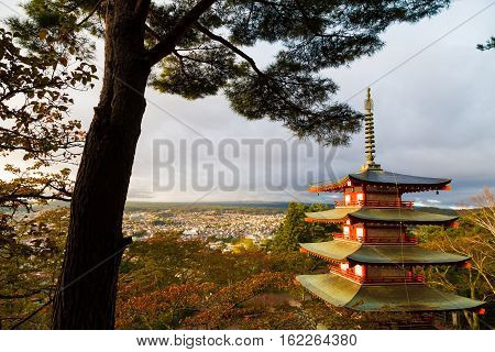 Mountain Fuji And Chureito Red Pagoda With Colorful Of Tree Leave In Autumn