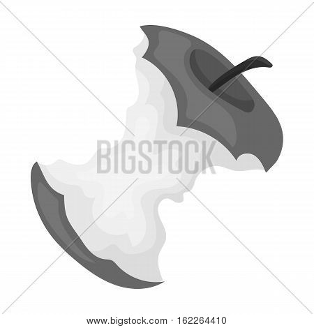 Stub of apple icon in monochrome style isolated on white background. Trash and garbage symbol vector illustration.