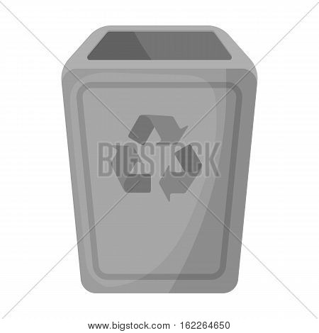 Garbage can icon in monochrome style isolated on white background. Trash and garbage symbol vector illustration.