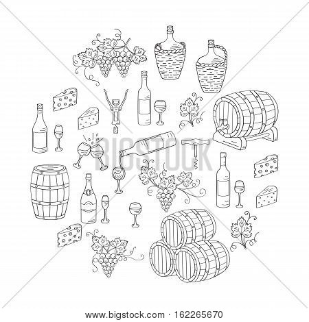Wine and wine making set vector illustrations hand drawn doodle, bottles, glasses, grapes, wine tasting, cheese, champagne, barrels, cellar. Wine design elements