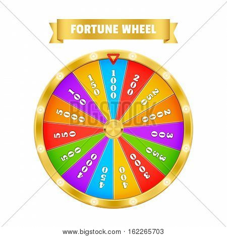 Gold Fortune Wheel. Realistic vector Illustration with title. Lucky game winner money casino - stock vector. 3d object isolated on white background.