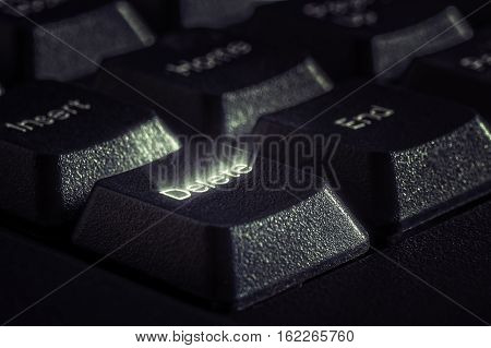 Image of key closeup with rays emanating from the word delete. The concept of removing cleaning selecting completing anything