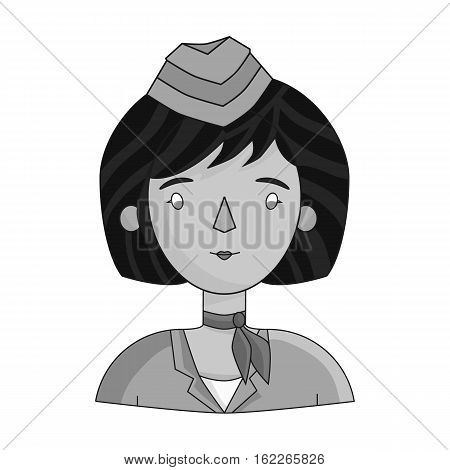 Stewardess icon in monochrome style isolated on white background. People of different profession symbol vector illustration.