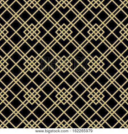 Geometric abstract background with rhomuses and diagonal lines. Seamless modern pattern. Black and golden pattern