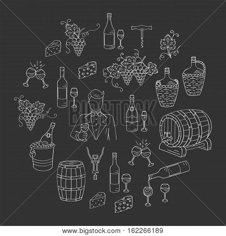 Wine and wine making set vector illustrations hand drawn doodle, bottles, glasses, grapes, sommelier, wine tasting, cheese, champagne, barrels, cellar. Wine design elements on chalkboard
