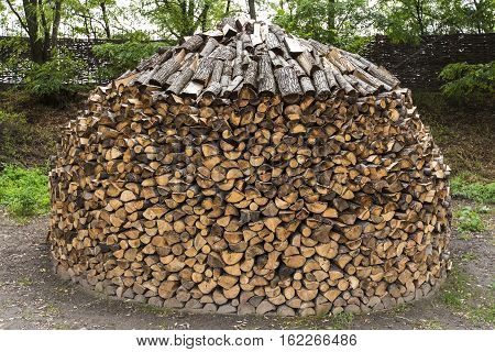 a heap of firewood stacked in the backyard