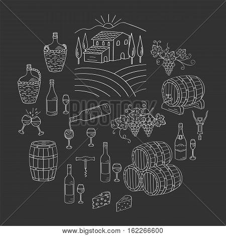Wine and winemaking set vector illustrations hand drawn doodle, vineyard, bottles, glasses, grapes, barrels, cellar. Wine design elements on chalkboard.