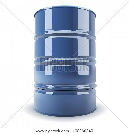 Blue standard metal barrel isolated on white background realistic illustration.