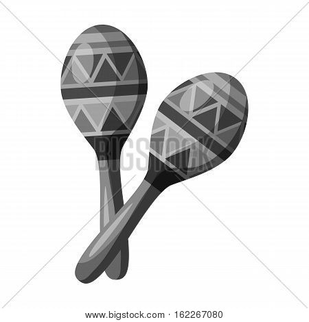 Mexican maracas icon in monochrome style isolated on white background. Mexico country symbol vector illustration.