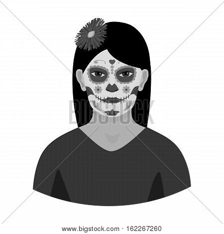 Mexican woman with calavera make up icon in monochrome style isolated on white background. Mexico country symbol vector illustration.