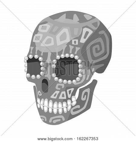 Mexican calavera skull icon in monochrome style isolated on white background. Mexico country symbol vector illustration.