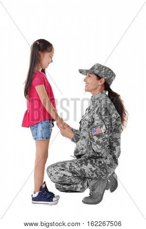 Mother in army uniform with daughter isolated on white