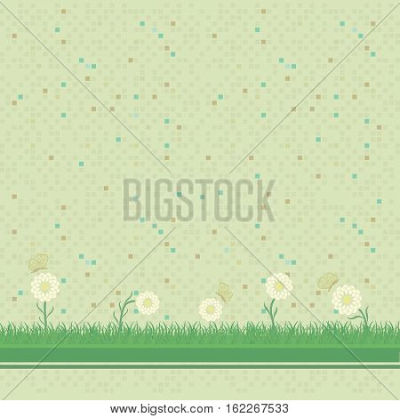 Abstract green mosaic background with daisies and butterflies.