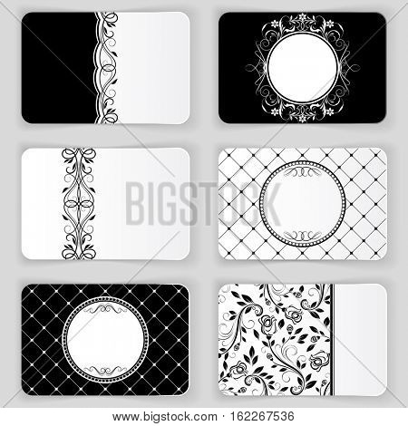 Black and white vintage business cards template.