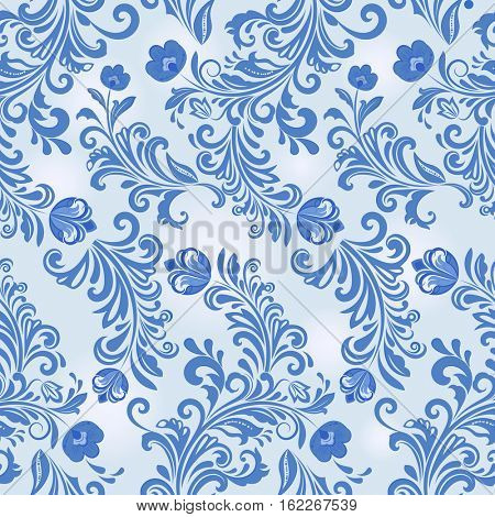 Seamless winter blue flower wallpaper pattern.